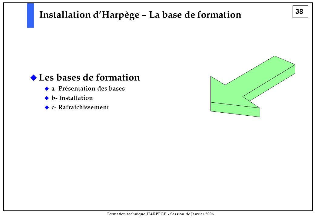 38 Formation technique HARPEGE - Session de Janvier 2006 Installation d'Harpège – La base de formation   Les bases de formation   a- Présentation des bases   b- Installation   c- Rafraîchissement