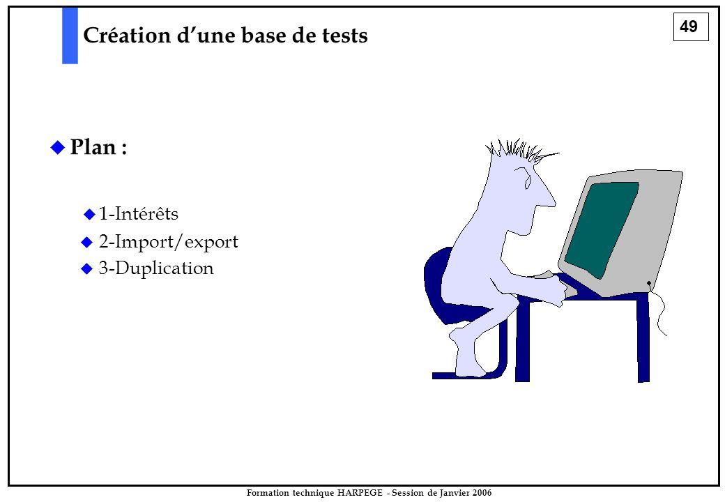 49 Formation technique HARPEGE - Session de Janvier 2006  Plan :  1-Intérêts Création d'une base de tests   2-Import/export   3-Duplication