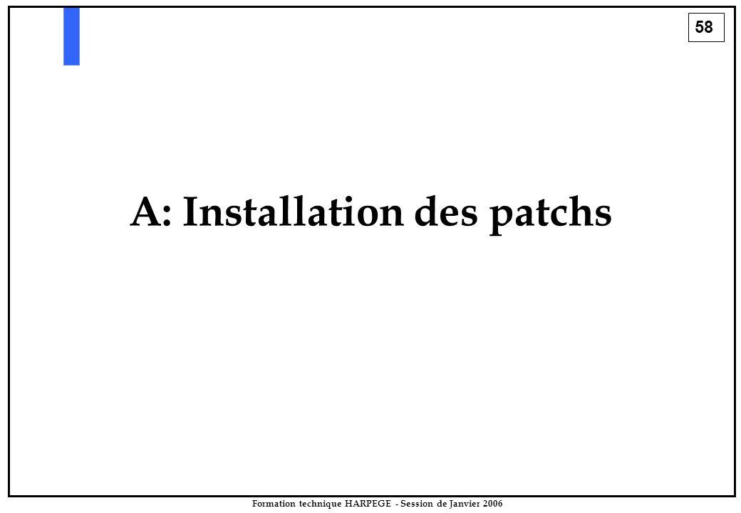 58 Formation technique HARPEGE - Session de Janvier 2006 A: Installation des patchs