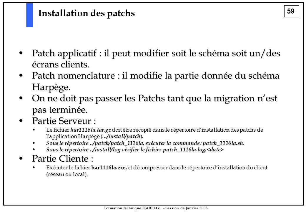 59 Formation technique HARPEGE - Session de Janvier 2006 Installation des patchs Patch applicatif : il peut modifier soit le schéma soit un/des écrans clients.Patch applicatif : il peut modifier soit le schéma soit un/des écrans clients.