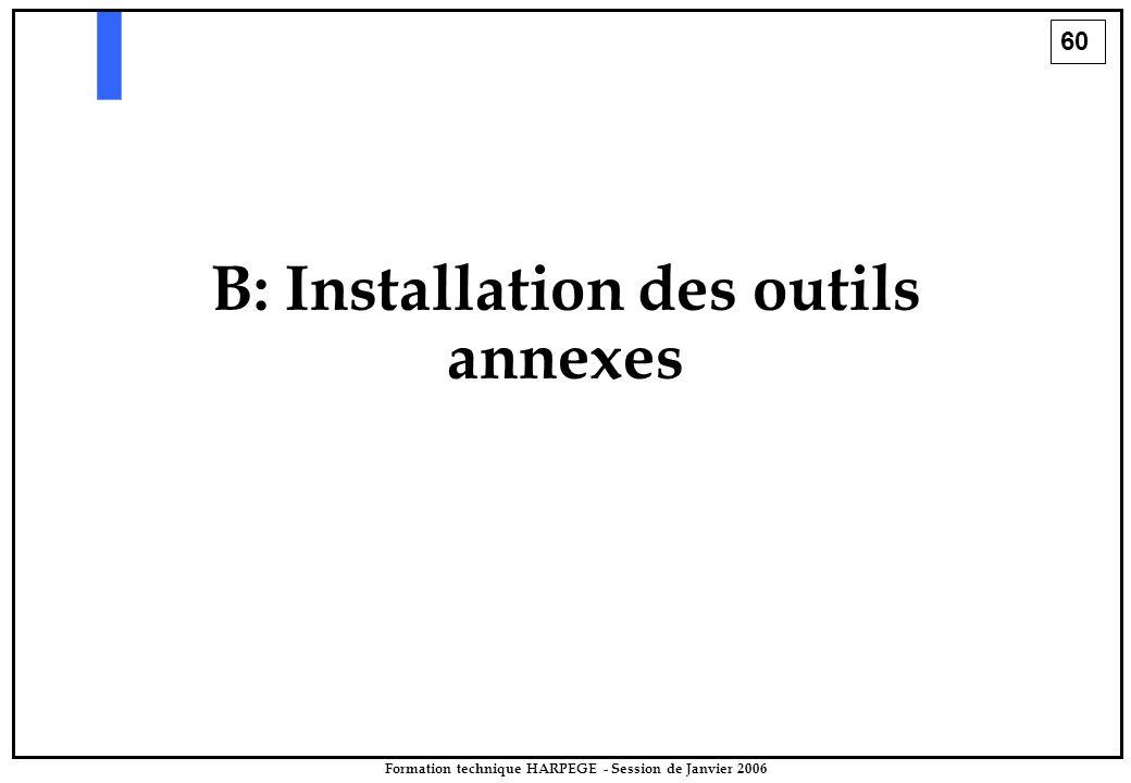 60 Formation technique HARPEGE - Session de Janvier 2006 B: Installation des outils annexes