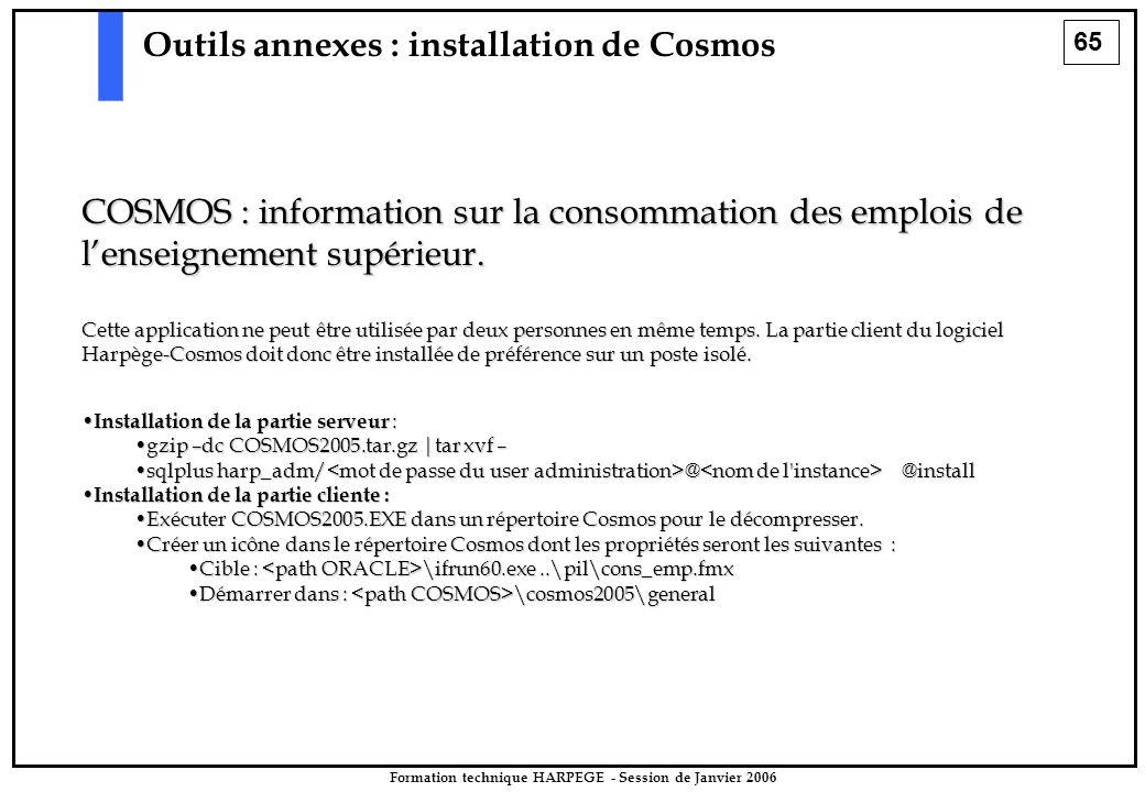 65 Formation technique HARPEGE - Session de Janvier 2006 Outils annexes : installation de Cosmos COSMOS : information sur la consommation des emplois de l'enseignement supérieur.