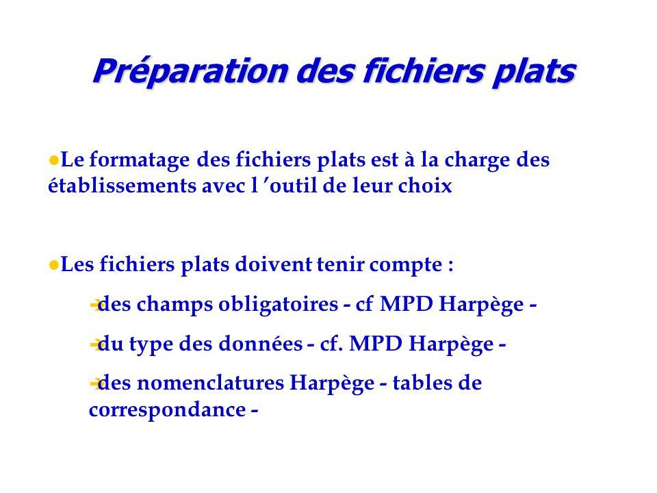 Le formatage des fichiers plats est à la charge des établissements avec l 'outil de leur choix Les fichiers plats doivent tenir compte :  des champs obligatoires - cf MPD Harpège -  du type des données - cf.