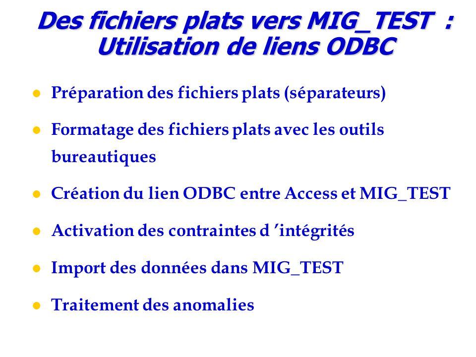 Préparation des fichiers plats (séparateurs) Formatage des fichiers plats avec les outils bureautiques Création du lien ODBC entre Access et MIG_TEST Activation des contraintes d 'intégrités Import des données dans MIG_TEST Traitement des anomalies Des fichiers plats vers MIG_TEST : Utilisation de liens ODBC