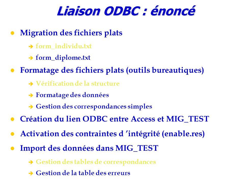 Liaison ODBC : énoncé Migration des fichiers plats è form_individu.txt è form_diplome.txt Formatage des fichiers plats (outils bureautiques) è Vérific