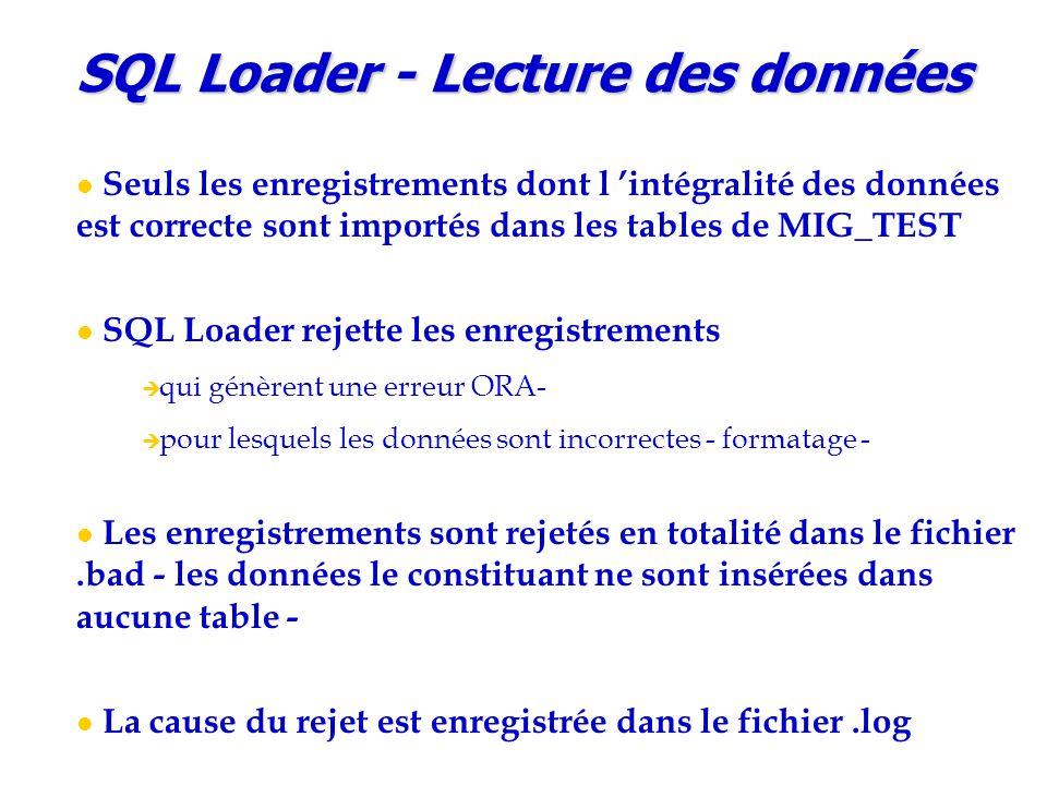 SQL Loader - Lecture des données Seuls les enregistrements dont l 'intégralité des données est correcte sont importés dans les tables de MIG_TEST SQL
