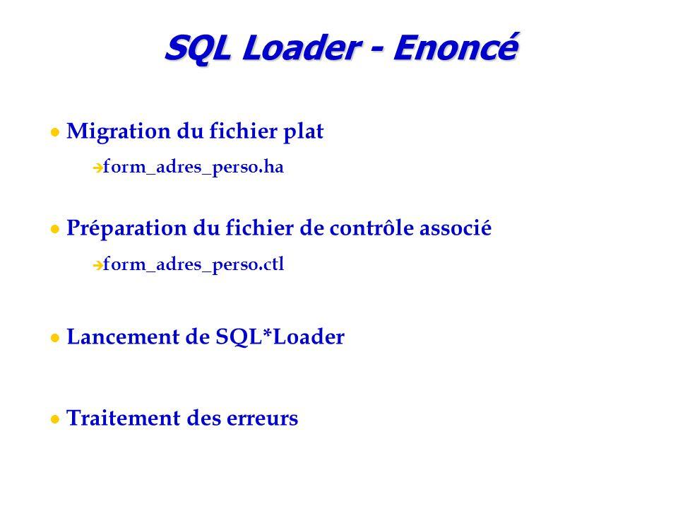 SQL Loader - Enoncé Migration du fichier plat  form_adres_perso.ha Préparation du fichier de contrôle associé  form_adres_perso.ctl Lancement de SQL*Loader Traitement des erreurs