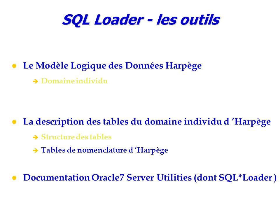 SQL Loader - les outils Le Modèle Logique des Données Harpège è Domaine individu La description des tables du domaine individu d 'Harpège è Structure des tables è Tables de nomenclature d 'Harpège Documentation Oracle7 Server Utilities (dont SQL*Loader )
