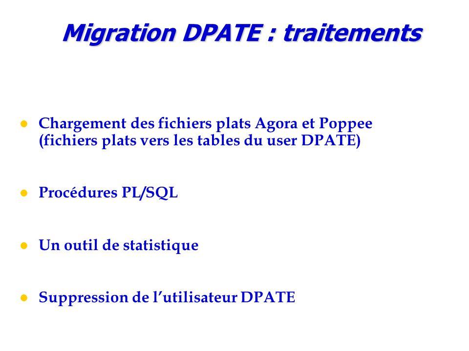 Chargement des fichiers plats Agora et Poppee (fichiers plats vers les tables du user DPATE) Procédures PL/SQL Un outil de statistique Suppression de l'utilisateur DPATE Migration DPATE : traitements