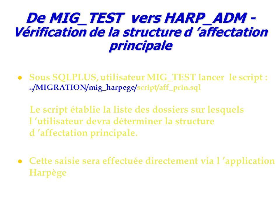 Sous SQLPLUS, utilisateur MIG_TEST lancer le script :../MIGRATION/mig_harpege/script/aff_prin.sql Le script établie la liste des dossiers sur lesquels l 'utilisateur devra déterminer la structure d 'affectation principale.