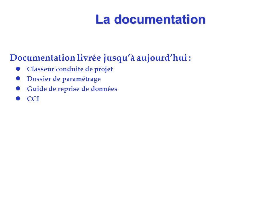 La documentation Documentation livrée jusqu'à aujourd'hui : l Classeur conduite de projet l Dossier de paramétrage l Guide de reprise de données l CCI