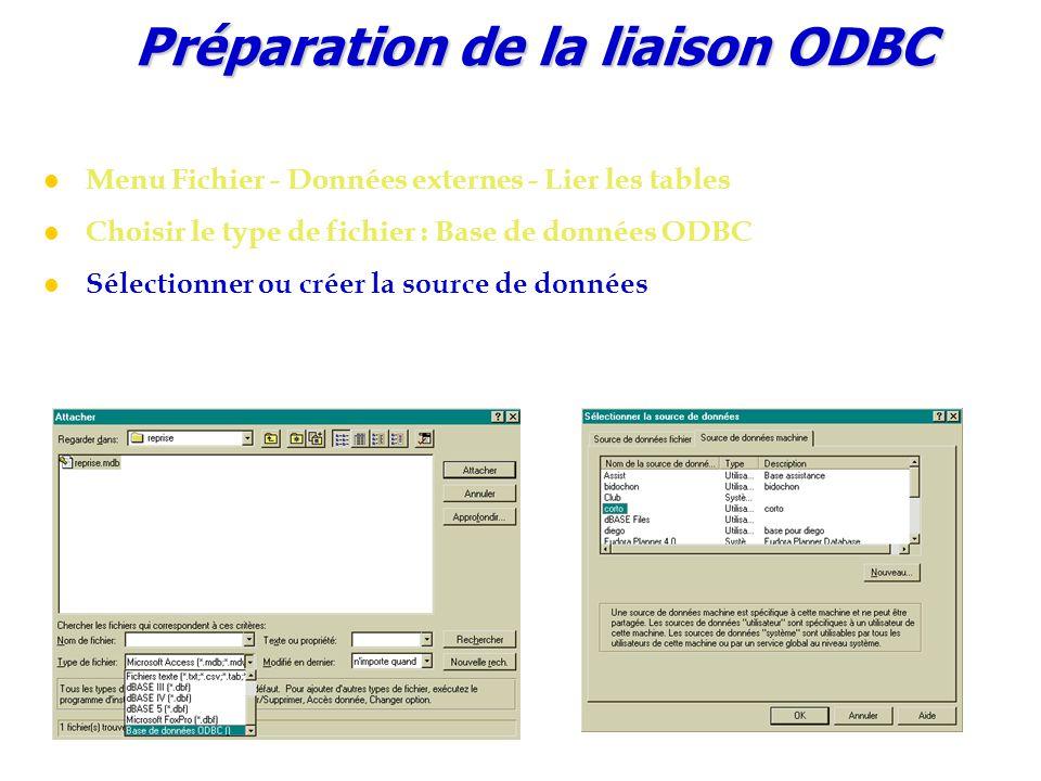 Préparation de la liaison ODBC Menu Fichier - Données externes - Lier les tables Choisir le type de fichier : Base de données ODBC Sélectionner ou cré