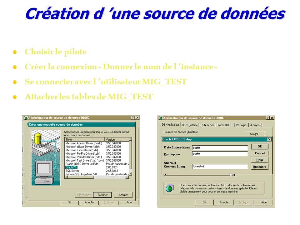 Création d 'une source de données Choisir le pilote Créer la connexion - Donner le nom de l 'instance - Se connecter avec l 'utilisateur MIG_TEST Attacher les tables de MIG_TEST