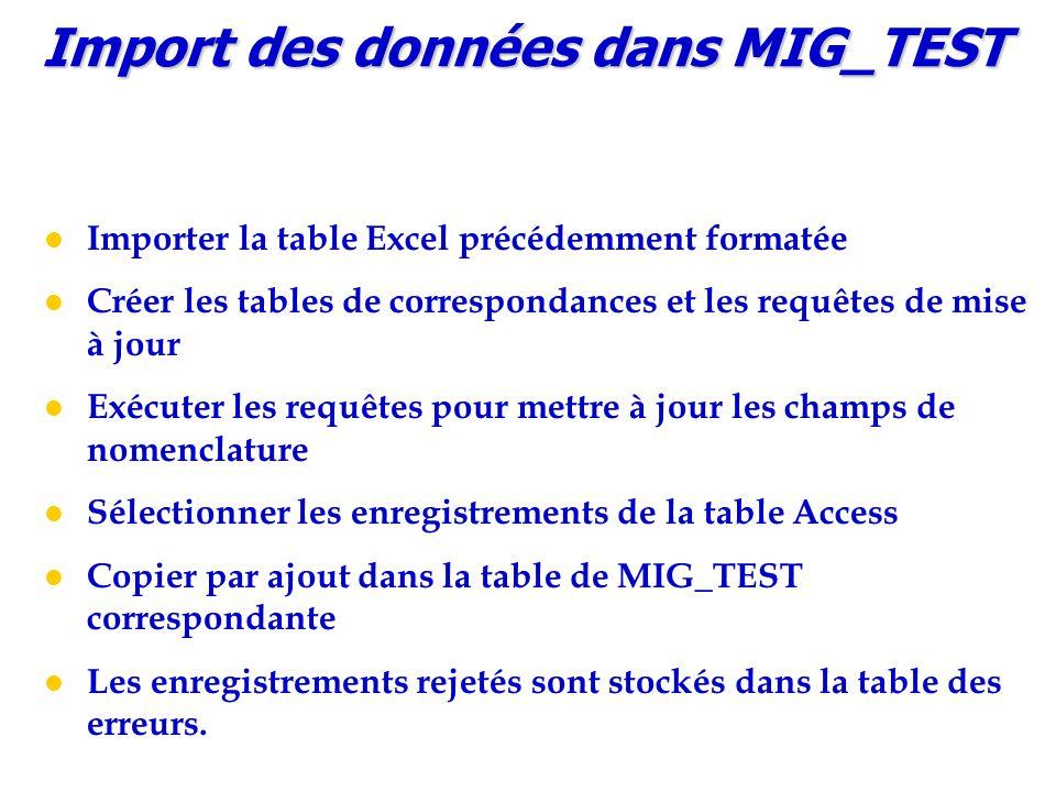Import des données dans MIG_TEST Importer la table Excel précédemment formatée Créer les tables de correspondances et les requêtes de mise à jour Exécuter les requêtes pour mettre à jour les champs de nomenclature Sélectionner les enregistrements de la table Access Copier par ajout dans la table de MIG_TEST correspondante Les enregistrements rejetés sont stockés dans la table des erreurs.