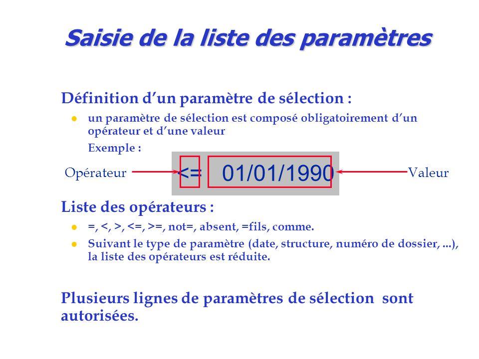 Définition d'un paramètre de sélection : l un paramètre de sélection est composé obligatoirement d'un opérateur et d'une valeur Exemple : Liste des opérateurs : l =,, =, not=, absent, =fils, comme.