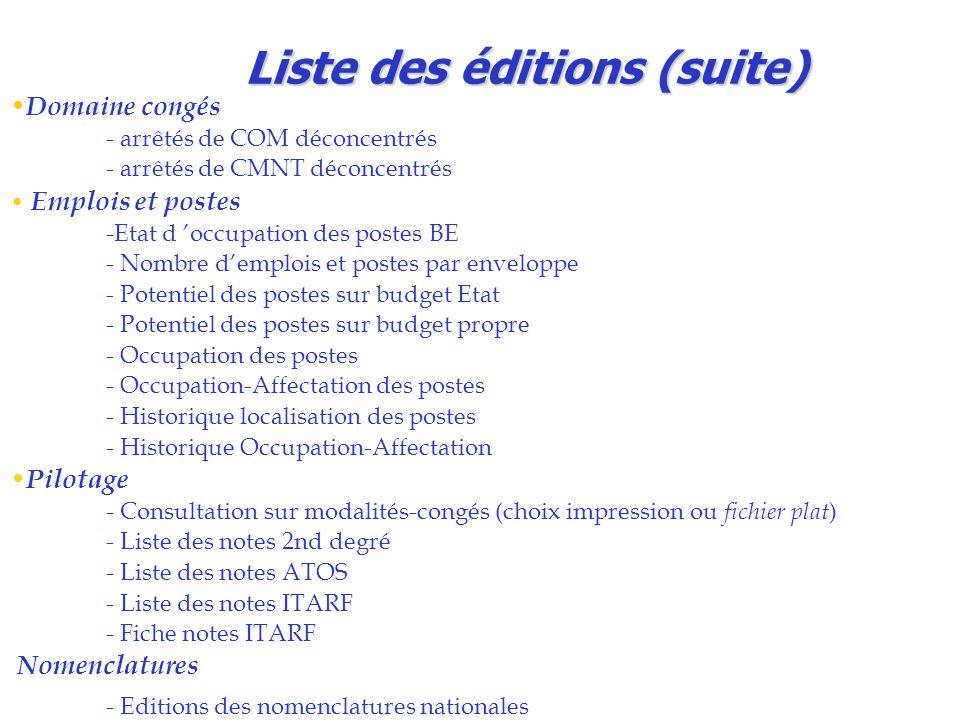 Liste des éditions (suite) Domaine congés - arrêtés de COM déconcentrés - arrêtés de CMNT déconcentrés Emplois et postes -Etat d 'occupation des poste