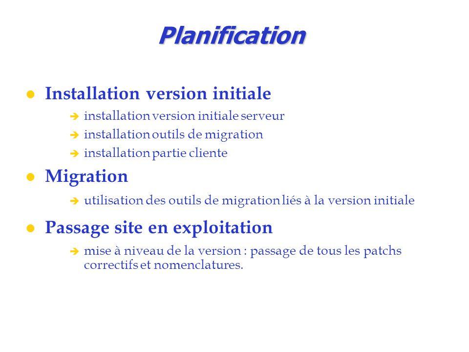 Planification Installation version initiale  installation version initiale serveur  installation outils de migration  installation partie cliente M