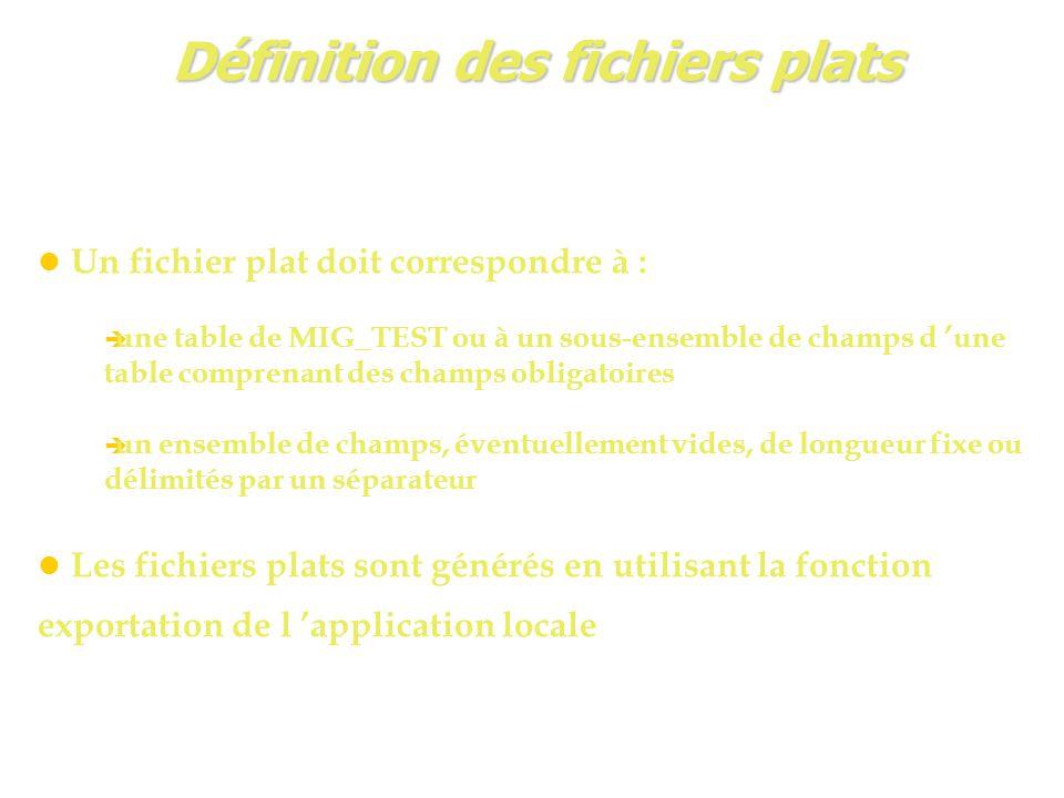 Définition des fichiers plats Un fichier plat doit correspondre à :  une table de MIG_TEST ou à un sous-ensemble de champs d 'une table comprenant des champs obligatoires  un ensemble de champs, éventuellement vides, de longueur fixe ou délimités par un séparateur Les fichiers plats sont générés en utilisant la fonction exportation de l 'application locale