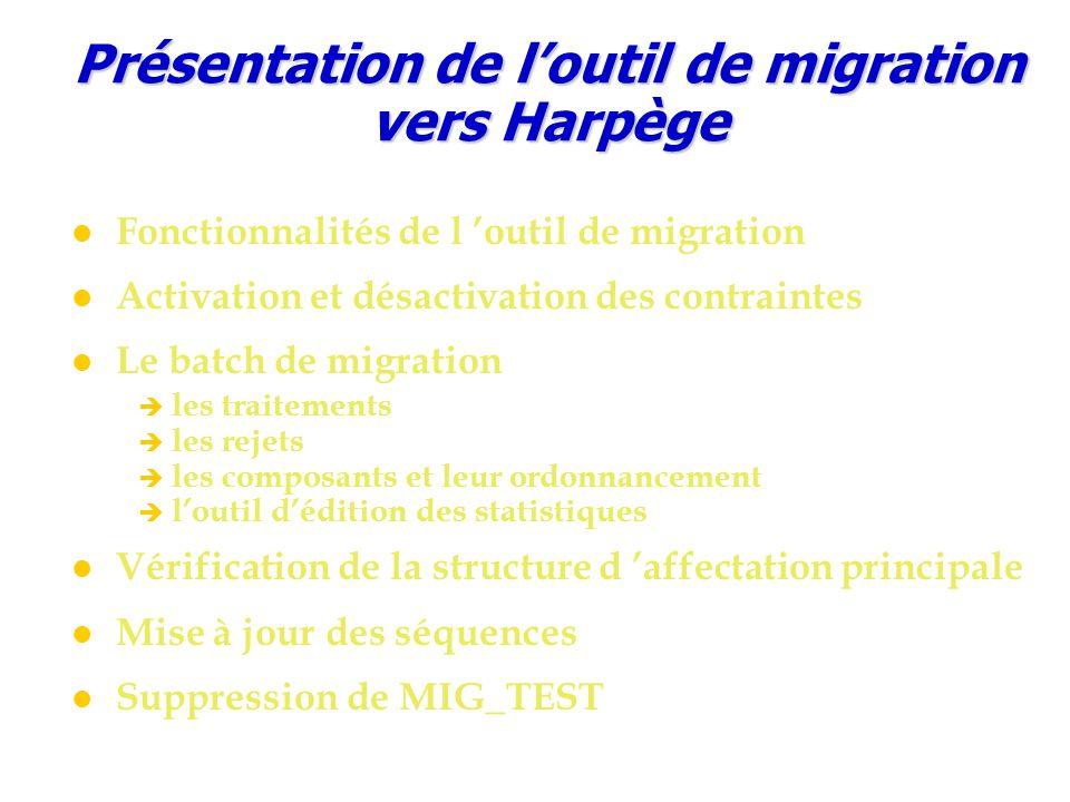 Présentation de l'outil de migration vers Harpège Fonctionnalités de l 'outil de migration Activation et désactivation des contraintes Le batch de mig