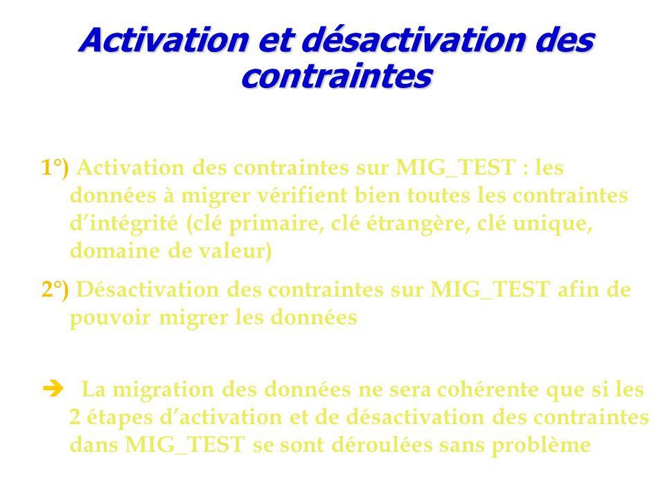 Activation et désactivation des contraintes 1°) Activation des contraintes sur MIG_TEST : les données à migrer vérifient bien toutes les contraintes d'intégrité (clé primaire, clé étrangère, clé unique, domaine de valeur) 2°) Désactivation des contraintes sur MIG_TEST afin de pouvoir migrer les données è La migration des données ne sera cohérente que si les 2 étapes d'activation et de désactivation des contraintes dans MIG_TEST se sont déroulées sans problème