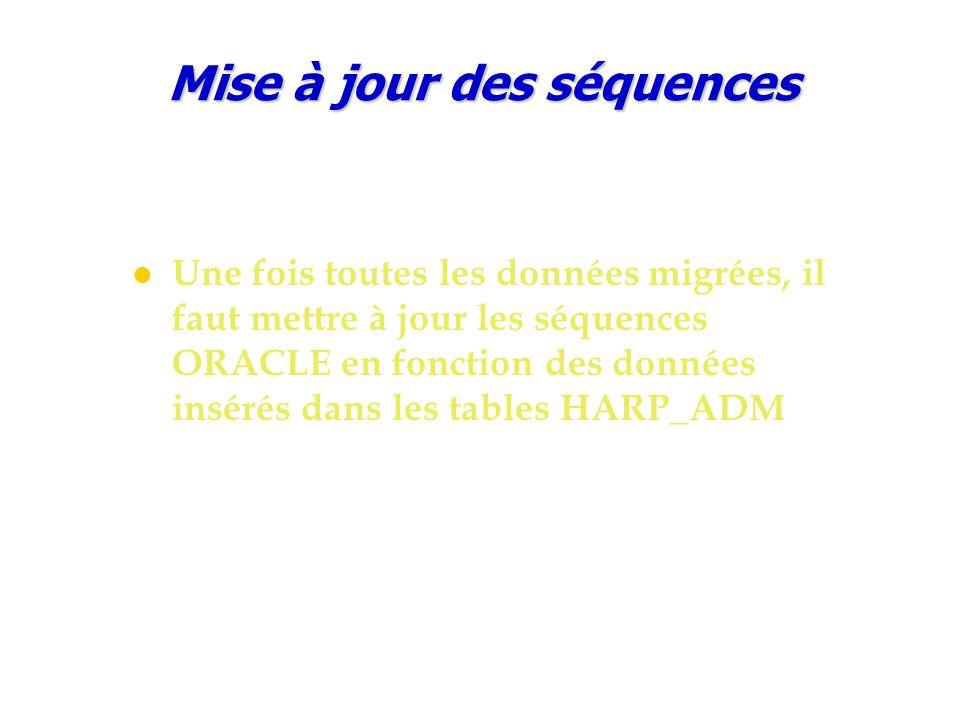 Mise à jour des séquences Une fois toutes les données migrées, il faut mettre à jour les séquences ORACLE en fonction des données insérés dans les tables HARP_ADM