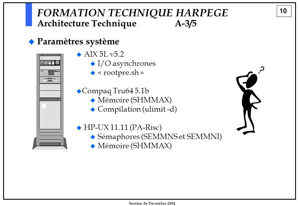 10 Session de Décembre 2004 FORMATION TECHNIQUE HARPEGE Architecture Technique A-3/5   Paramètres système   AIX 5L v5.2   I/O asynchrones   «
