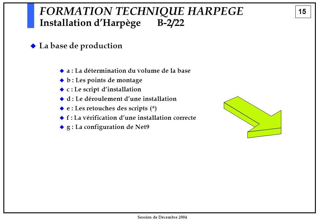 15 Session de Décembre 2004 FORMATION TECHNIQUE HARPEGE Installation d'HarpègeB-2/22  La base de production  a : La détermination du volume de la ba