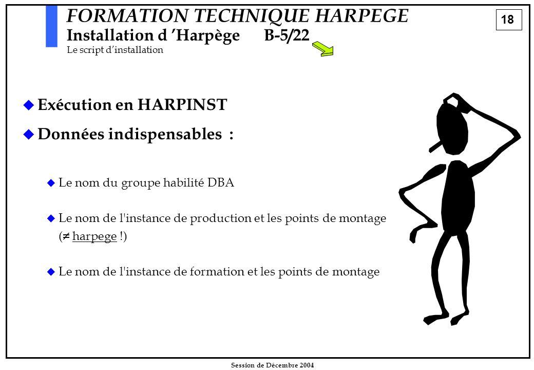 18 Session de Décembre 2004 FORMATION TECHNIQUE HARPEGE Installation d 'HarpègeB-5/22 Le script d'installation   Exécution en HARPINST   Données i