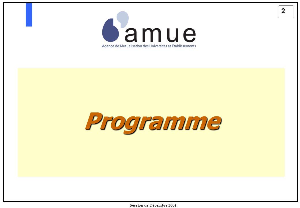 2 Session de Décembre 2004 Programme
