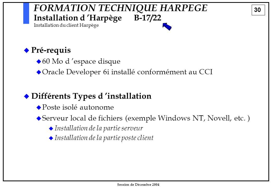 30 Session de Décembre 2004  Pré-requis  60 Mo d 'espace disque  Oracle Developer 6i installé conformément au CCI  Différents Types d 'installatio