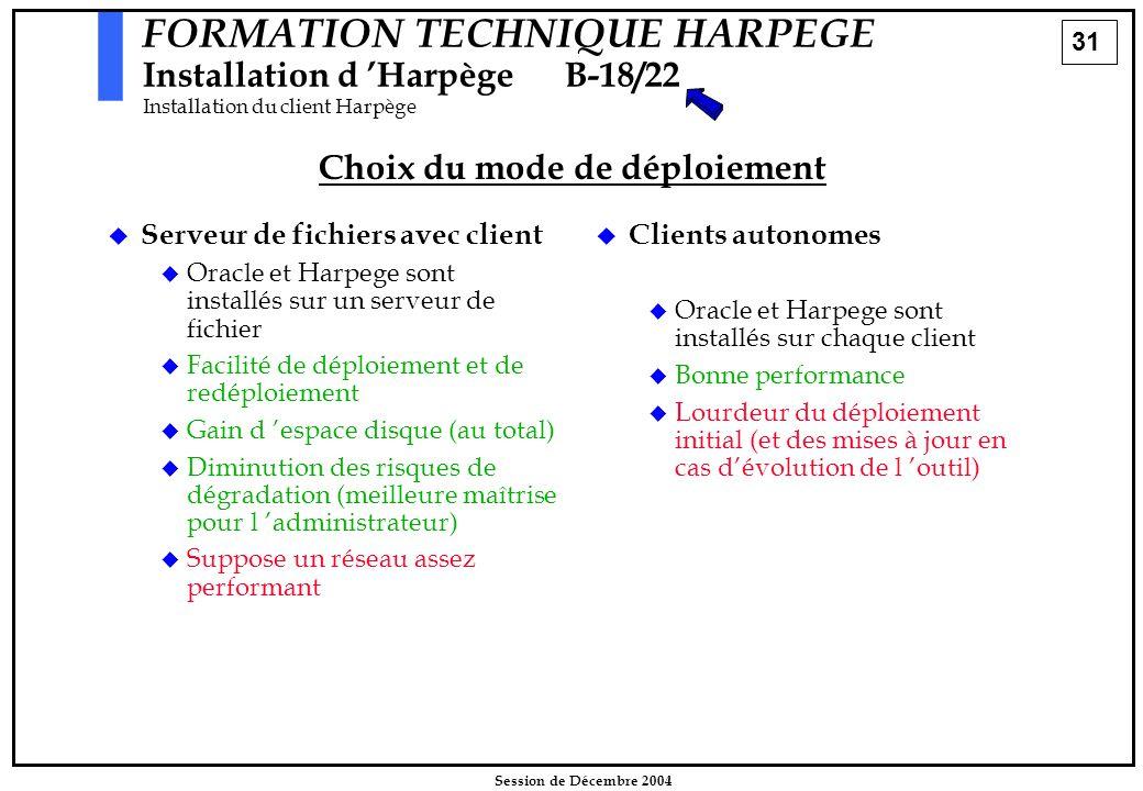 31 Session de Décembre 2004 FORMATION TECHNIQUE HARPEGE Installation d 'HarpègeB-18/22 Installation du client Harpège Choix du mode de déploiement  