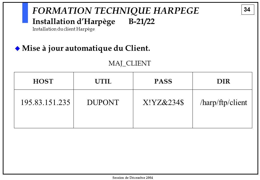 34 Session de Décembre 2004 FORMATION TECHNIQUE HARPEGE Installation d'HarpègeB-21/22 Installation du client Harpège   Mise à jour automatique du Cl