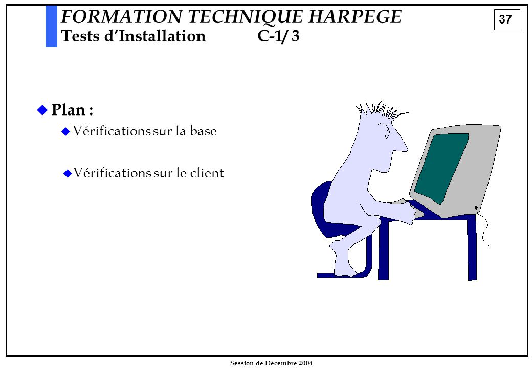 37 Session de Décembre 2004  Plan :  Vérifications sur la base FORMATION TECHNIQUE HARPEGE Tests d'InstallationC-1/ 3   Vérifications sur le client