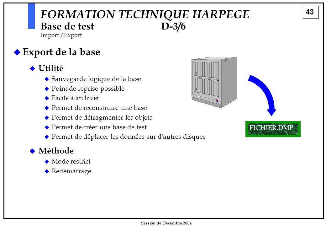 43 Session de Décembre 2004 FORMATION TECHNIQUE HARPEGE Base de testD-3/6 Import /Export   Export de la base FICHIER.DMP  Utilité  Sauvegarde logi