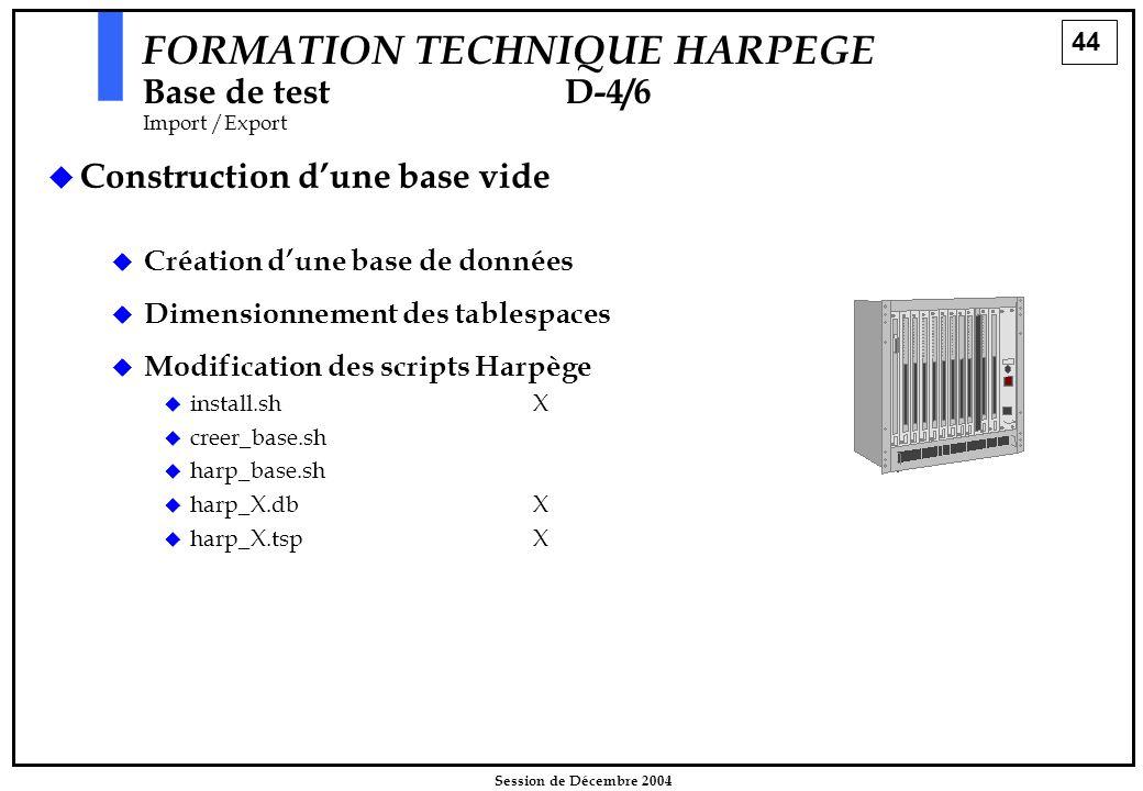 44 Session de Décembre 2004   Construction d'une base vide FORMATION TECHNIQUE HARPEGE Base de testD-4/6 Import /Export  Création d'une base de don
