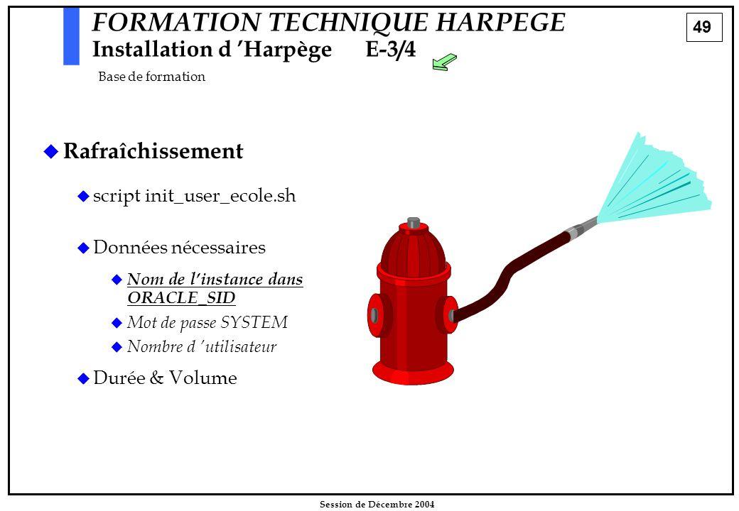 49 Session de Décembre 2004 FORMATION TECHNIQUE HARPEGE Installation d 'HarpègeE-3/4 Base de formation   Rafraîchissement   script init_user_ecole