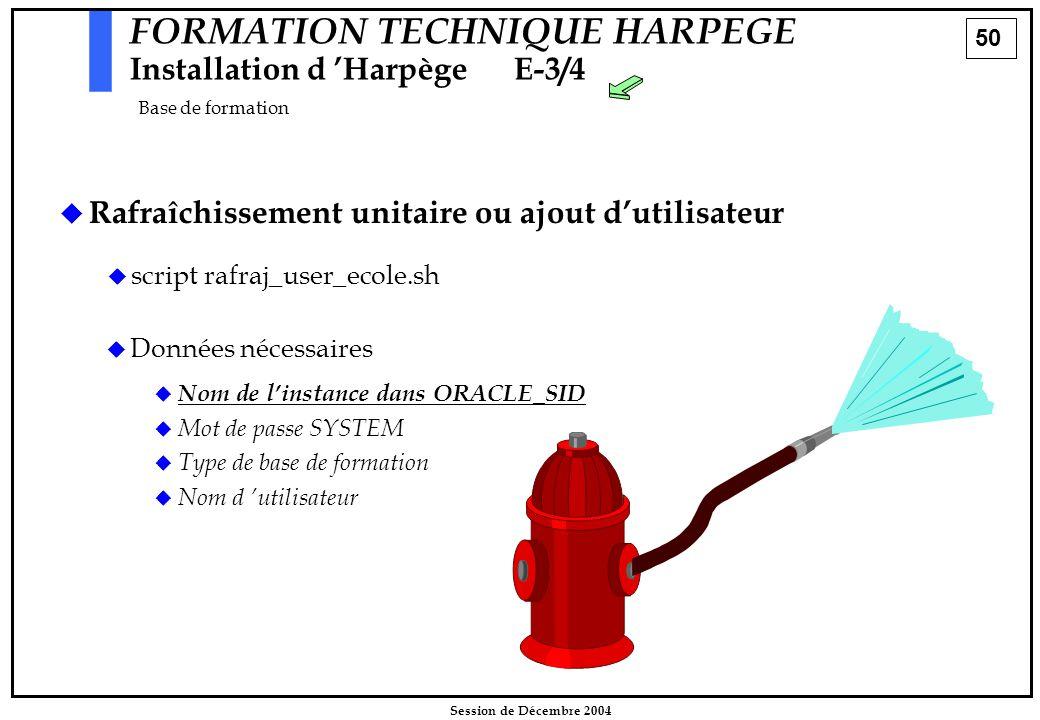 50 Session de Décembre 2004 FORMATION TECHNIQUE HARPEGE Installation d 'HarpègeE-3/4 Base de formation   Rafraîchissement unitaire ou ajout d'utilis
