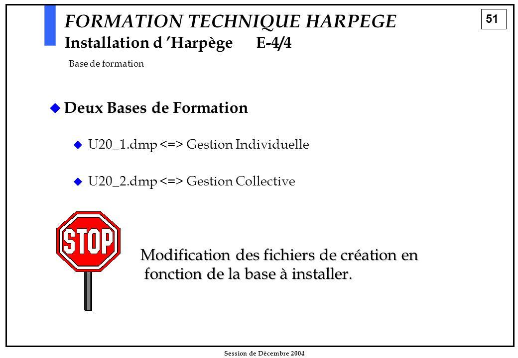 51 Session de Décembre 2004 FORMATION TECHNIQUE HARPEGE Installation d 'HarpègeE-4/4 Base de formation   Deux Bases de Formation   U20_1.dmp Gesti