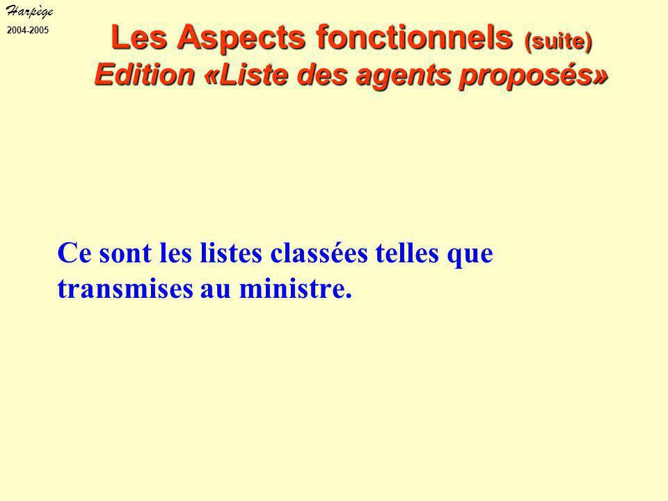 Harpège 2004-2005 Les Aspects fonctionnels (suite) Edition «Liste des agents proposés» Ce sont les listes classées telles que transmises au ministre.