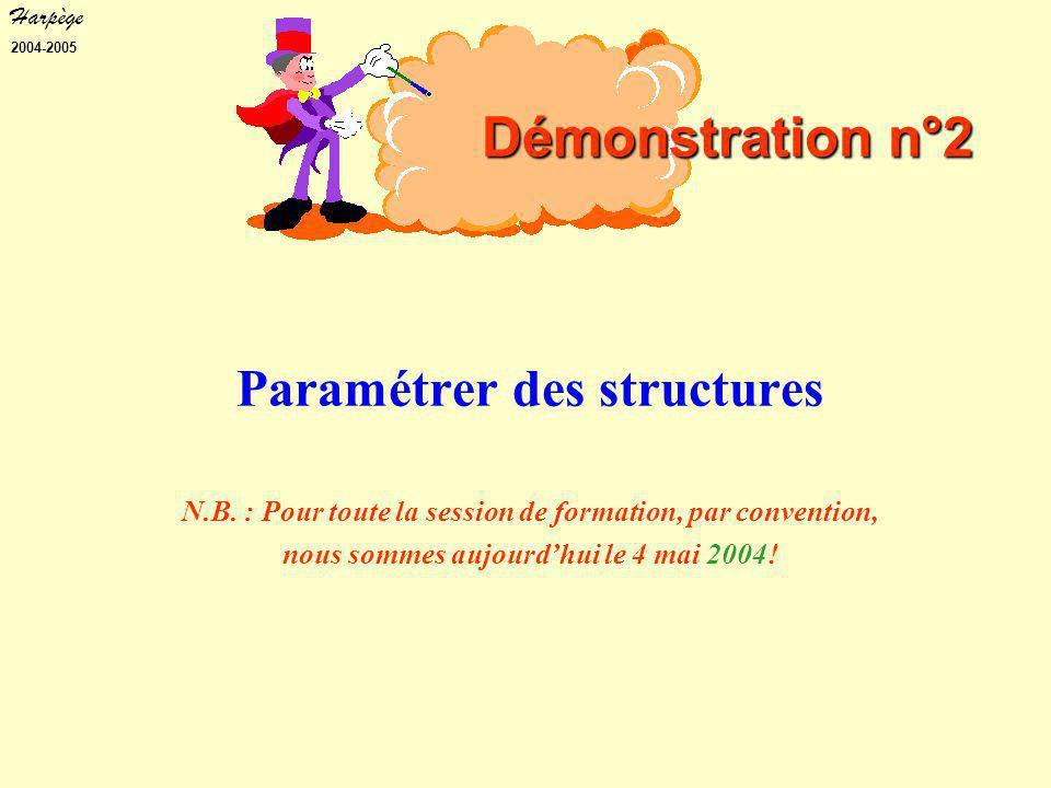 Harpège 2004-2005 Paramétrer des structures N.B.