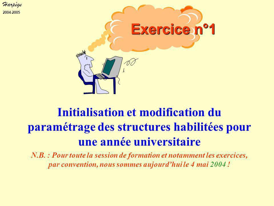 Harpège 2004-2005 Initialisation et modification du paramétrage des structures habilitées pour une année universitaire N.B.