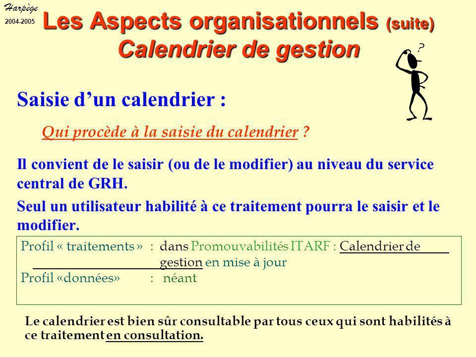 Harpège 2004-2005 Profil « traitements » : dans Promouvabilités ITARF : Calendrier de gestion en mise à jour Profil «données» : néant Le calendrier est bien sûr consultable par tous ceux qui sont habilités à ce traitement en consultation.