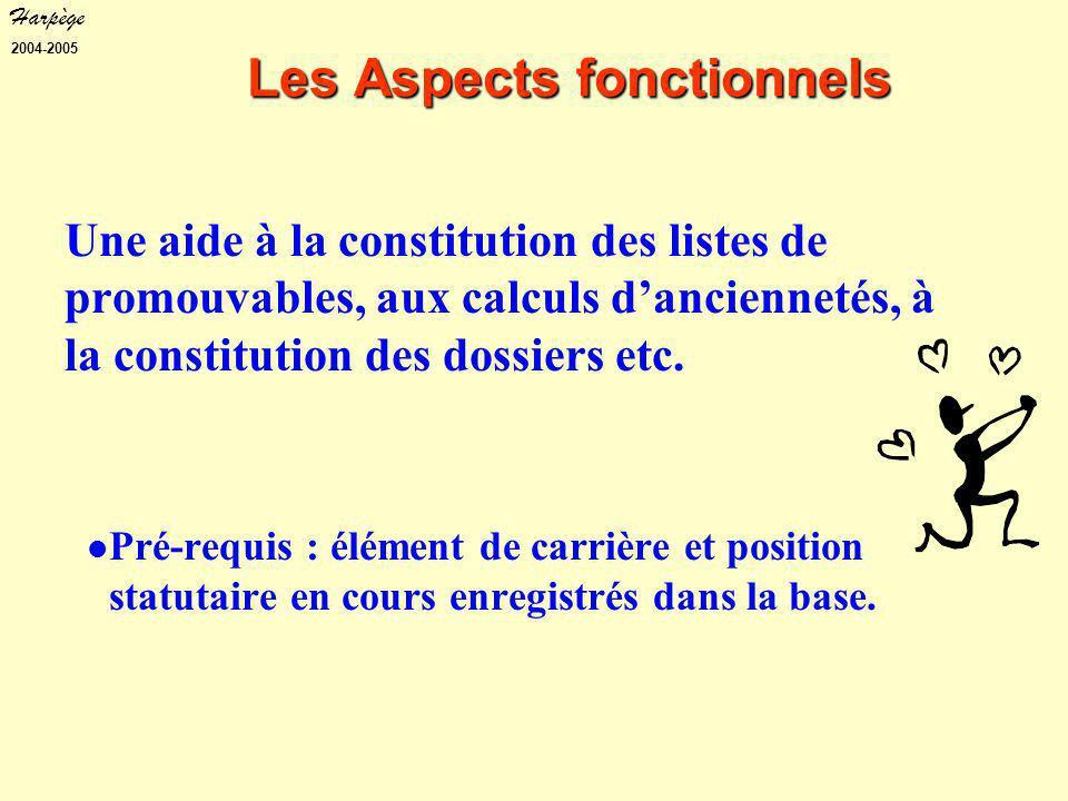 Harpège 2004-2005 Les Aspects fonctionnels Une aide à la constitution des listes de promouvables, aux calculs d'anciennetés, à la constitution des dossiers etc.