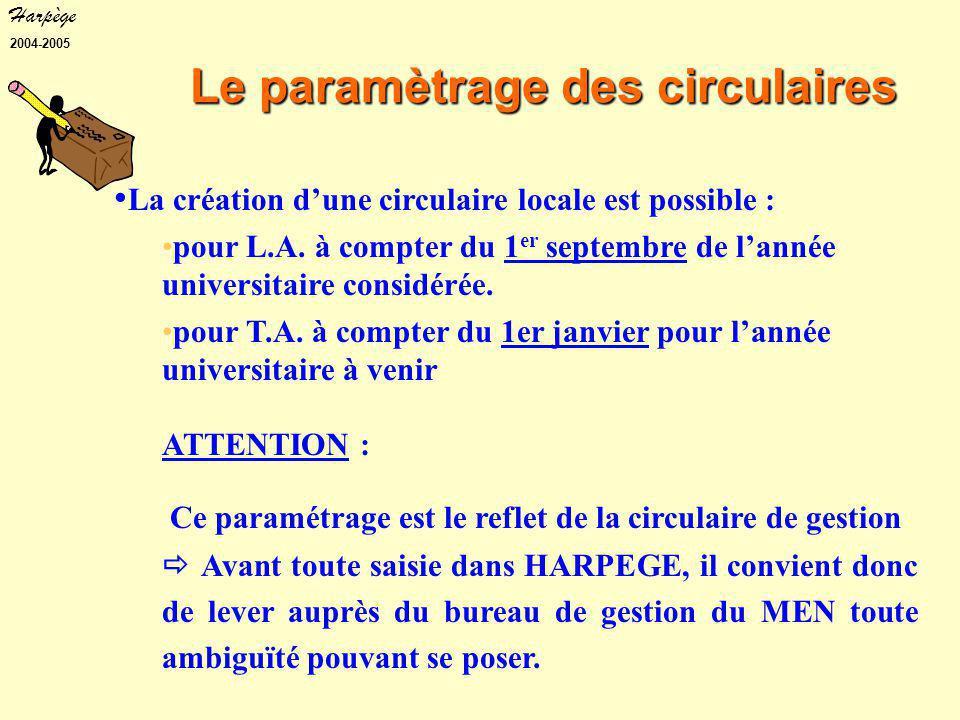 Harpège 2004-2005 Le paramètrage des circulaires La création d'une circulaire locale est possible : pour L.A.