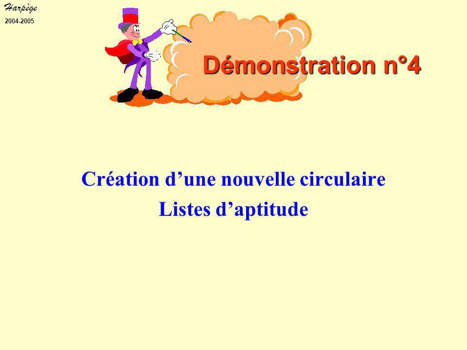 Harpège 2004-2005 Création d'une nouvelle circulaire Listes d'aptitude Démonstration n°4
