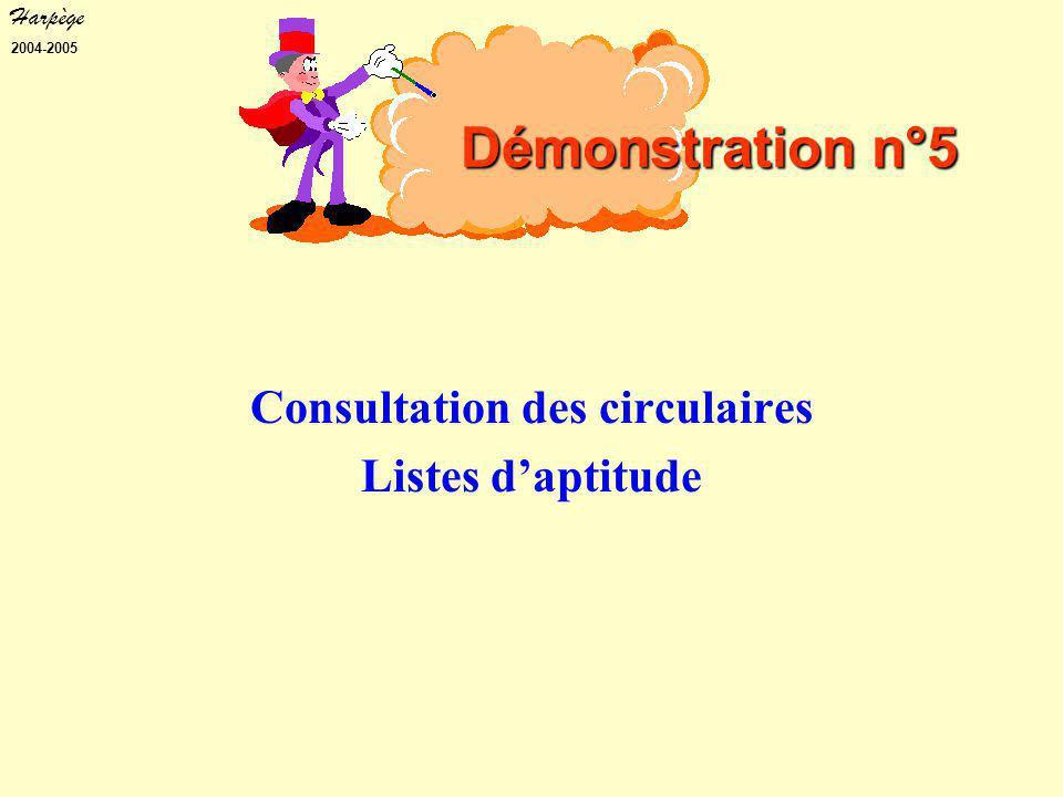 Harpège 2004-2005 Consultation des circulaires Listes d'aptitude Démonstration n°5