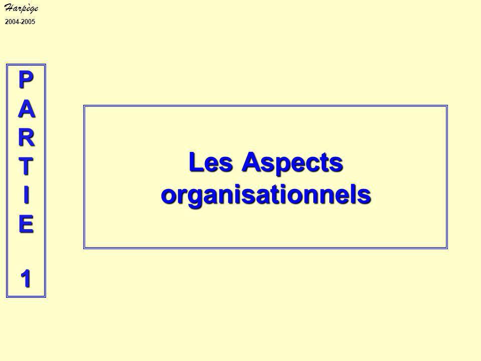 Harpège 2004-2005 Les Aspects organisationnels PARTIE1