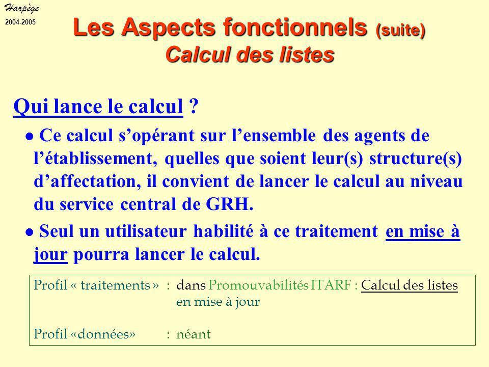 Harpège 2004-2005 Les Aspects fonctionnels (suite) Calcul des listes Qui lance le calcul .