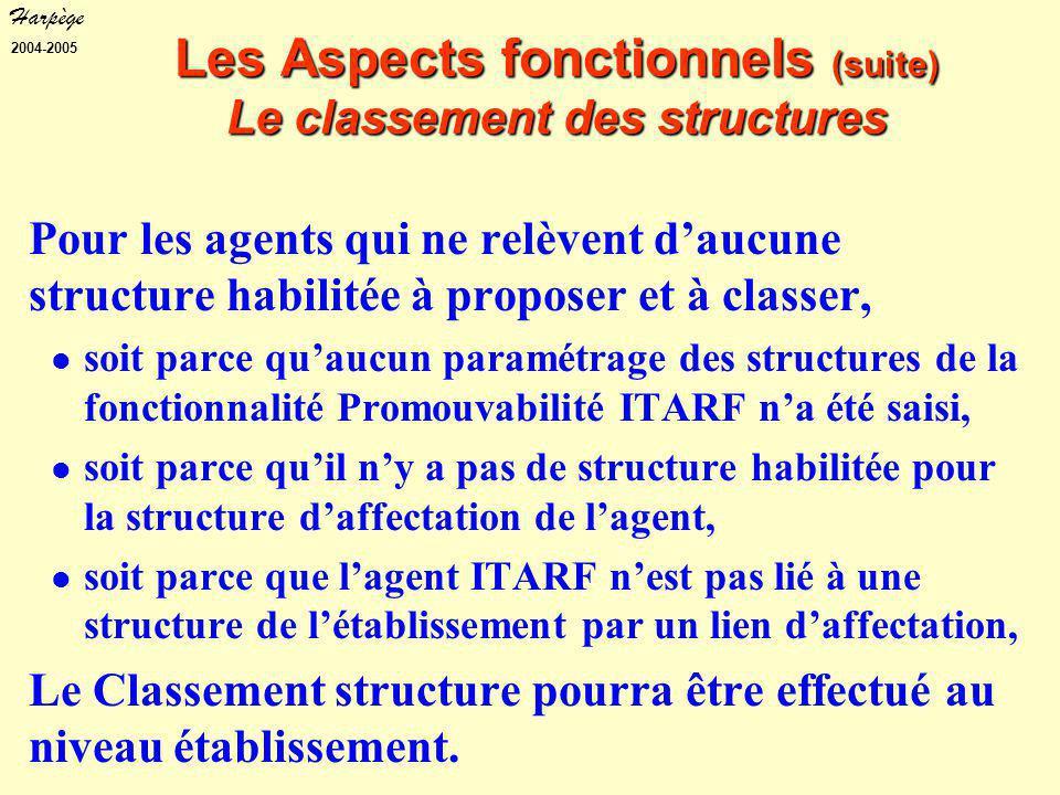 Harpège 2004-2005 Pour les agents qui ne relèvent d'aucune structure habilitée à proposer et à classer, soit parce qu'aucun paramétrage des structures de la fonctionnalité Promouvabilité ITARF n'a été saisi, soit parce qu'il n'y a pas de structure habilitée pour la structure d'affectation de l'agent, soit parce que l'agent ITARF n'est pas lié à une structure de l'établissement par un lien d'affectation, Le Classement structure pourra être effectué au niveau établissement.