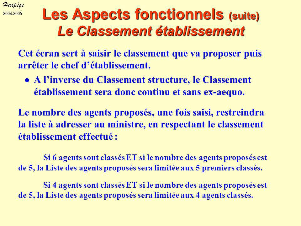 Harpège 2004-2005 Les Aspects fonctionnels (suite) Le Classement établissement Cet écran sert à saisir le classement que va proposer puis arrêter le chef d'établissement.